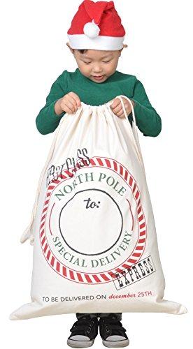 (HUAN XUN Postmark Canvas Bag Santa Sack for Christmas Presents)