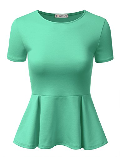 Blouse Mint - Doublju Stretchy Flare Peplum Blouse Tops for Women with Plus Size Mint X-Large