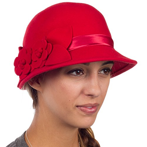 (Sakkas 0941LC Vintage Style 100% Wool Cloche Bell Hat with Flower Accent - Red/One)