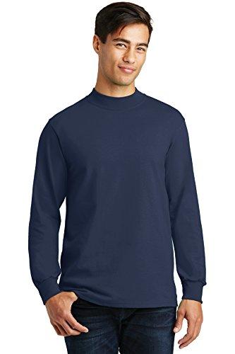 (Port & Company Men's Mock Turtleneck - Large - Navy Blue)