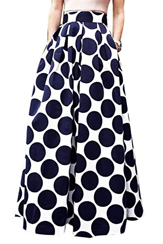 Novias Women Casual High Waisted African Print A Line Maxi Long Skirt with Pockets(Navy Dot M)