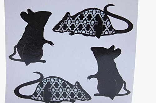 4 Paper Mice Standing Sitting Scary Black Halloween Decor Prop Skull (Pack of 2) Comes with Free How to Live Stress Free (Jokes For Halloween Dirty)
