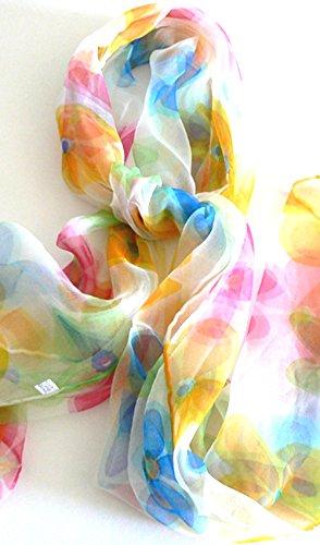 (Silk Salon Oblong 100% Silk Scarf Belt Hand Rolled Edges Floral Pastel A502)