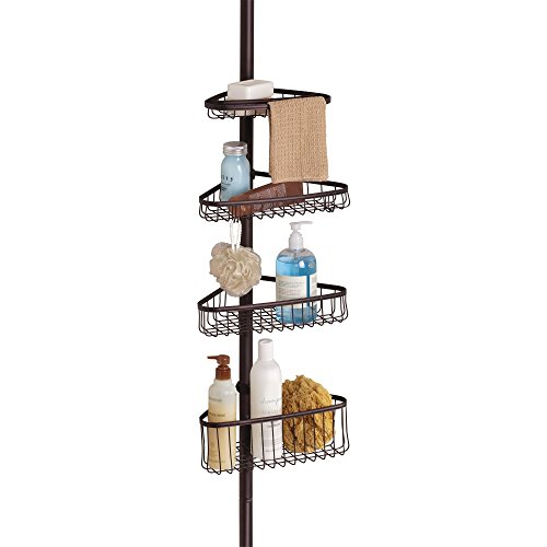 (iDesign York Metal Wire Tension Rod Corner Shower Caddy, Adjustable 5'-9' Pole and Baskets for Shampoo, Conditioner, Soap with Hooks for Razors, Towels, Bronze)