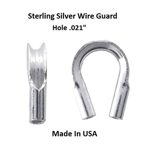 Sterling Silver Wire Guard, Wire Protector/Jewelry Findings (Pack of 50 (Hole - .021