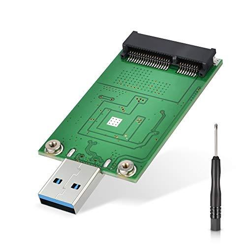 mSATA Adapter, ELUTENG mSATA to USB 3.0 Adapter, USB mSATA SSD Reader, 50mm Mini SATA Converter as Portable Flash Drive External Hard Drive (No Cable Needed)