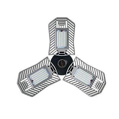 GRG LED Adjustbale Trilight Garage Light, Motion Activated Ceiling Light 60W 6000LM, 6000K LED Light Bulbs with E26/E27 Medium Base Radar Detection Sensor for Attic,Basement, Home, Factory,Mine,Road
