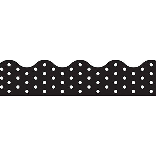 Trend Enterprises, Inc. T-92671BN Polka Dots Black Terrific Trimmers, 39' per Pack, 12 Packs (Black Polka Dots Calendar)