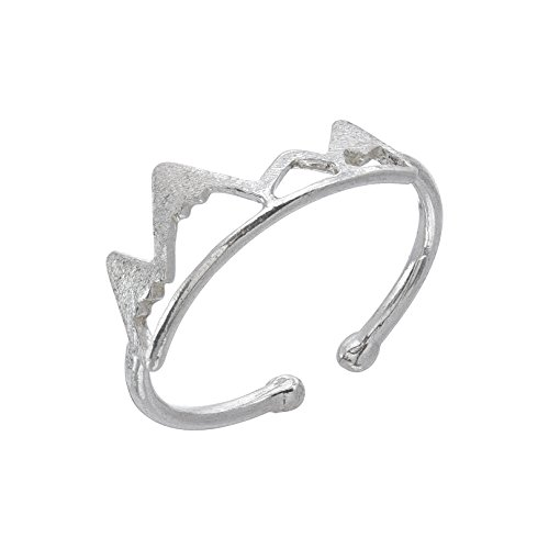 Mountain Ring - 925 Sterling Silver - Adjustable (Best Knuckle Tattoo Ideas)