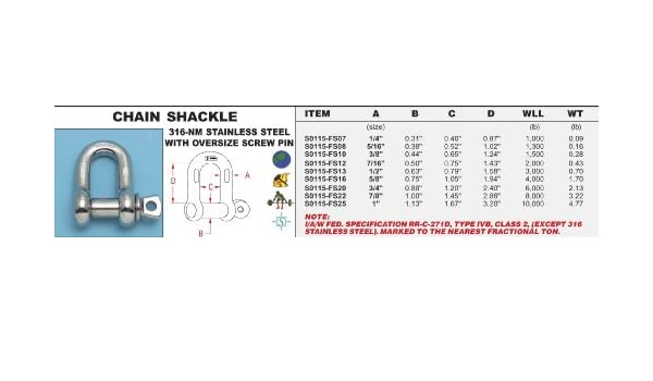 """STAINLESS STEEL 316-NM CHAIN SHACKLE 7//16/"""" OVERSIZE PIN S0115-FS12"""