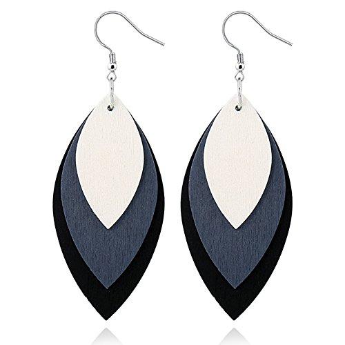 ALoveSoul Fashion Wooden Earrings for Women - Three-layer Leaves Stacked Wood Geometric Hook Earrings by ALoveSoul