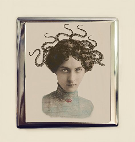 Victorian Snake - Medusa Cigarette Case Business Card ID Holder Wallet Surreal Snake Lady Victorian Altered Dark Art