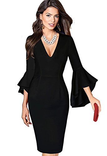 Iyasen Womens Summer Elegant 3/4 Flare Bell Sleeve V Neck Wear to Work Party Cocktail Sheath Dress Black XXL (Cocktail Wear Party)
