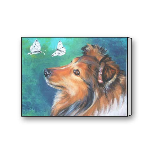 Shetland Sheepdog Puppies Oil Painting Custom Canvas, used for sale  Delivered anywhere in Canada