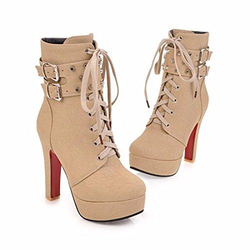 Stiefel Stiefel Winter groß Damen Motorrad hohen und Winter mit Absätzen kurz Schuhe Gürtelschnalle TxXZw7