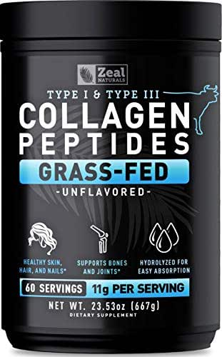 Pure Collagen Peptides Powder (11g | 60 Servings) Grass Fed Pasture-Raised Bovine Collagen Powder Hydrolyzed for Maximum Absorption - #1 Collagen Supplement for Joint Support, Hair Growth & Skin