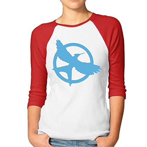 SUPERMORE The Hunger Games Saga Mockingjay Logo Women's 3/4 Sleeve 100% Cotton Baseball Tee/T Shirts Red (Hunger Games Custome)