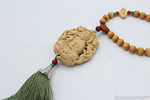 LuckyGifts Chinese Boxwood Carving Both Sided Double Dragons Godess Mercy Guan Yin Kwan Yin Feng Shui Protection Silky Tassel Hanging Charm