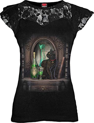 Spiral - Absinthe - Lace Layered Cap Sleeve Top Black - S