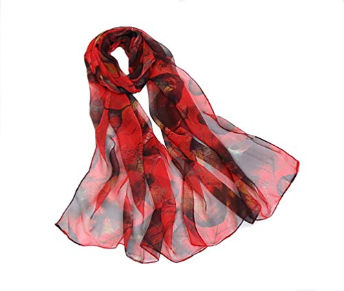 Print Silk Feeling Scarf Fashion Scarves Lightweight Sunscreen Shawls for Women (Leaves&Red black)
