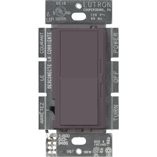 Lutron Diva C.L Dimmer for Dimmable LED, Halogen and Incandescent Bulbs, Single-Pole or 3-Way, DVSCCL-153P-PL, - Compact Plum