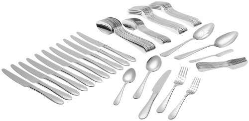 Ginkgo International Starlight 74-Piece Stainless Steel Flatware Set, Service for 12 Plus 2-Piece Hostess Set