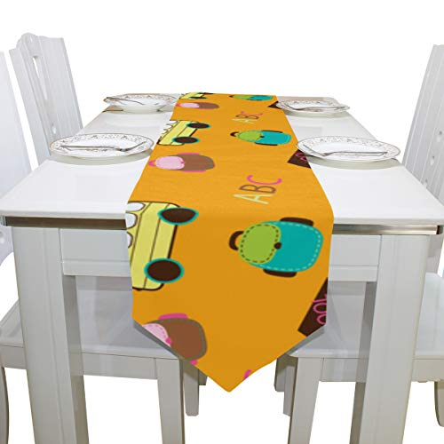 Wuhufy Bus City Daily Transport Dresser Scarf Cloth Cover Table Runner Tablecloth Place Mat Kitchen Dining Living Room Home Wedding Banquet Decor Indoor 13x90 Inch