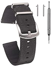 Quick Release Watch Black Bands, 18mm Watch Band, Quality Nylon Strap and Heavy Duty Brushed Buckle