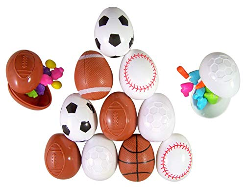 Sport Soccer, Football, Basketball, and Baseball Toys Prefilled with Candy, Pack of 12 ()
