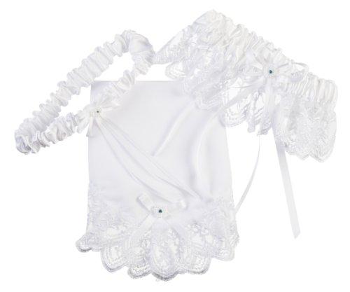 Darice VL3001 Wedding Throw Away Bridal Garter Hankie Set with Blue Stone, White