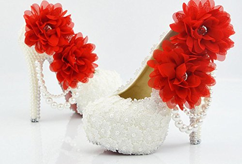 YCMDM scarpe da sposa Large Size Ultra High con il vestito da sposa rotonda scarpe da damigella d'onore del locale notturno Lace Bianco Fiore Rosso , 5 cm with high reservation , 37