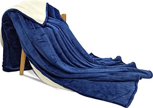 Sherpa Flannel Fleece reversible blankets (Throw)- Navy- Extra Soft Brush Fabric, Super Warm Bed Blanket, Lightweight cozy couch Blanket, Easy Care - by Utopia Bedding