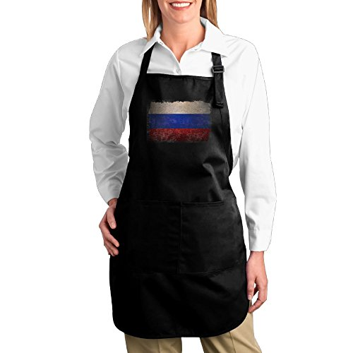 Russia Flag Cotton Canvas Kitchen Apron With Pocket For Gardening Cooking