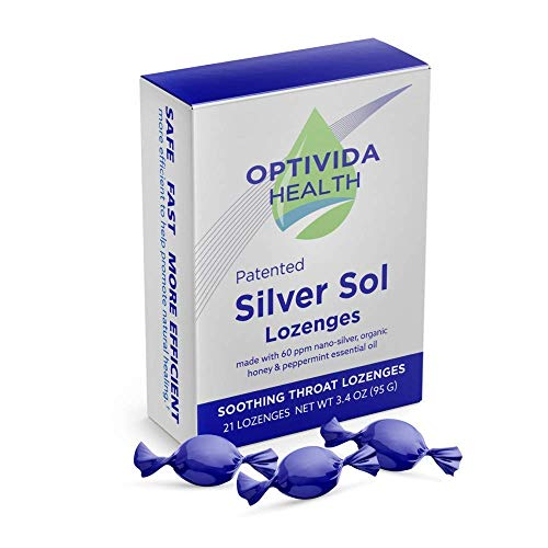 Optivida Health - Nano-Silver Sol Lozenges 60PPM - Fast-Acting Cough Drops with Lemon Oil, Organic Honey and Organic Peppermint Oil for Immune Support - 21 Individually Wrapped Pieces (Best Antibiotic For Sore Throat Cough)