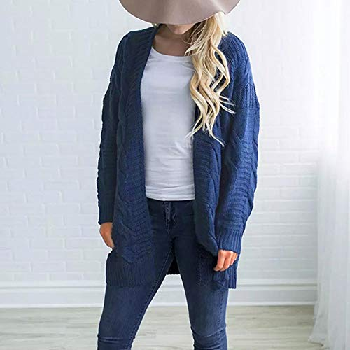 Blue Cardigan Lady Long Boyfriend Swearter Cardigan Casual Jacket Long Front Knit Knitwear DIKEWANG Sleeve Outwear Top Ladies Coat Open Knit Sleeve Womens wvx1xtYZqn