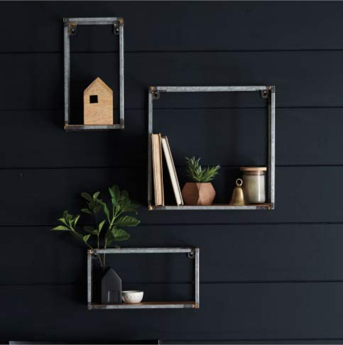 Hearth & Hand with Magnolia Galvanized Metal and Wood Wall Shelf (Set of ()
