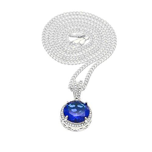 MCSAYS Collar de aleación de zinc con colgante redondo y colorido de  diamantes de imitación y 646a9bb915c