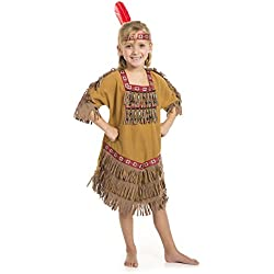 American Indian Princess Girl Costume with Feather Headband (SM 4/6)
