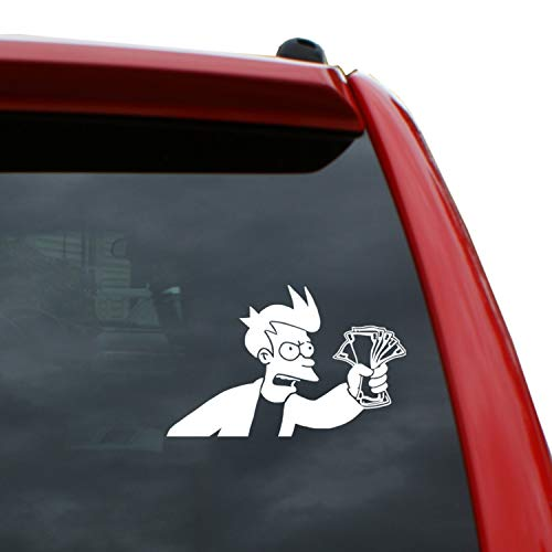 Black Heart Decals & More Futurama - Shut up and take My Money Vinyl Decal Sticker | Color: White | 5
