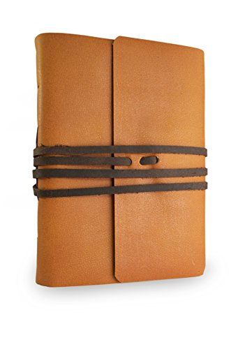Nepali Pathfinder Rustic Leather Bound Journal with Handmade Lokta Paper. Made in Nepal. (Large)