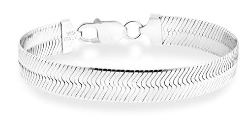 - MiaBella 925 Sterling Silver Italian Solid 10mm Flat Herringbone Chain Bracelet Men Women 7