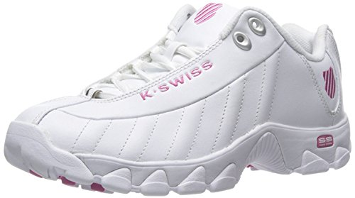 K-Swiss Women's ST329 CMF Trainer Lifestyle Sneaker, White/Shocking Pink, 6.5 M US (White Pink Leather Shoes)