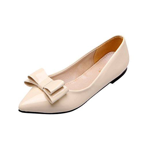 Show Pointed Off White Shine Leather Bows Patent Upper Sexy Shoes Flats Womens toe Loafers rSrx7wX