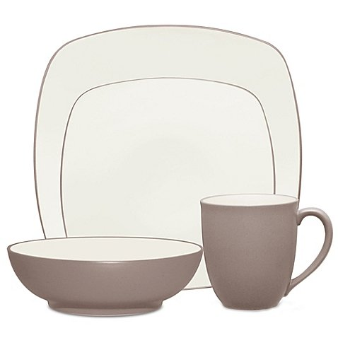 Noritake Colorwave Square Simple Chic Dinnerware Dishwasher Microwave Safe Imported Stoneware 4-Piece Place Setting, Clay