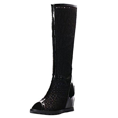 COOLCEPT Mujer Moda sin Cordones Sandalias Peep Toe Elevator Interior Zapatos con Cremallera Negro
