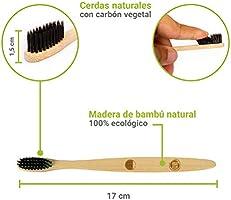 Ecokly Cepillos de dientes de madera de bambú natural, 100% ecológico, vegano y biodegradable. Cepillo de cerdas naturales con carbón vegetal, reciclable y ...