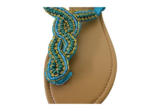 Womens Strappy Gladiator Flat Summer Sandals (GS-Sandals) 6345-blue jHxpOxe9QM