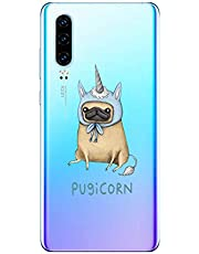 Oihxse Transparente Funda para Huawei Y7 2018/honor 7C Ultrafina Silicona Suave TPU Carcasa Interesante Perro Patrón Flexible Protectora Estuche Antigolpes Anti-Choque (A5)