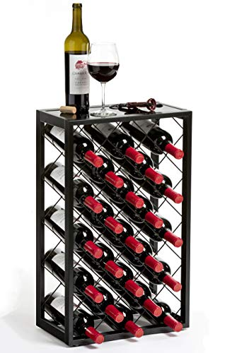 Mango Steam 23 Bottle Wine Rack with Glass Table Top, Black (Standing Metal Wine Rack)