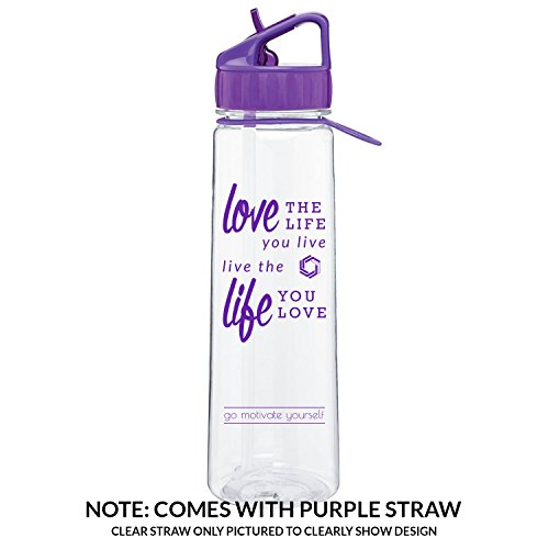 Love Life H2GO Angle Sports Bottle, 30oz straw water bottle with carrying loop (Purple)